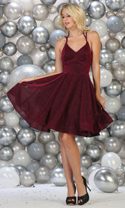 May Queen - RQ7754 V Neck Glittered Short Dress In Red and Black
