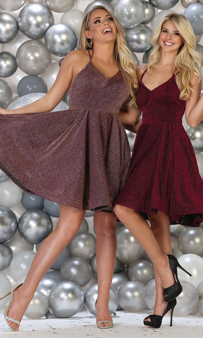 May Queen - RQ7754 V Neck Glittered Short Dress In Purple and Black