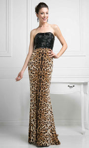 Cinderella Divine - S5235 Animal Printed Long Dress In Black and Brown