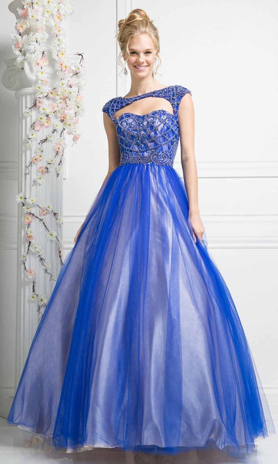 Cinderella Divine - S5239 Cap Sleeve Beaded Ballgown In Blue