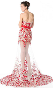 Cinderella Divine - S5240 Embroidered Illusion Dress In Red