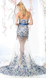 Cinderella Divine - S5240 Embroidered Illusion Dress In Blue