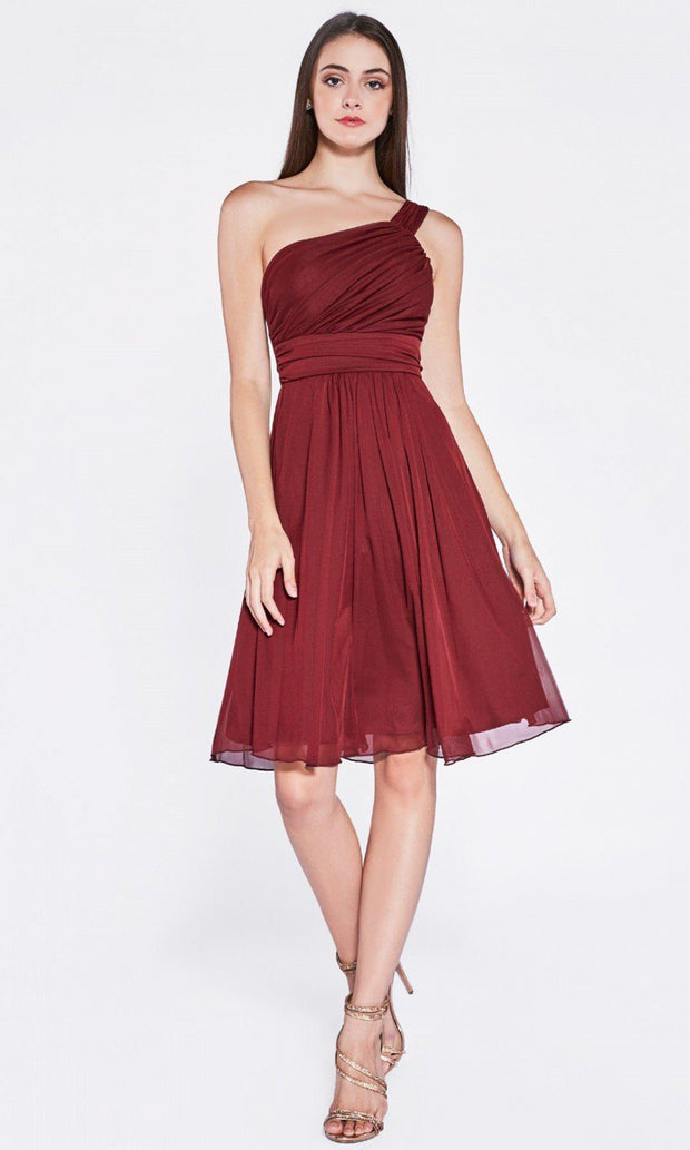 Cinderella Divine - 3909 Asymmetric Ruched Dress In Red and Black