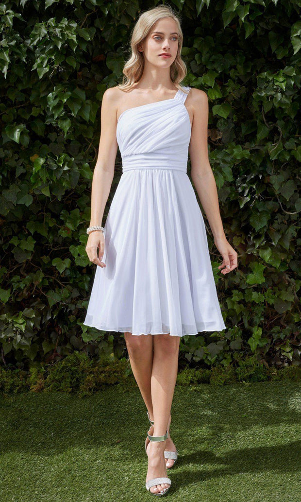 Cinderella Divine - 3909 Asymmetric Ruched Dress In White