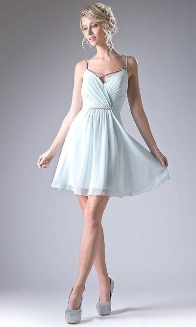 Cinderella Divine - 1009 Crisscross Cocktail Dress In Blue and White