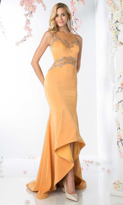 Cinderella Divine - SL765 Beaded Illusion Trumpet Dress In Orange