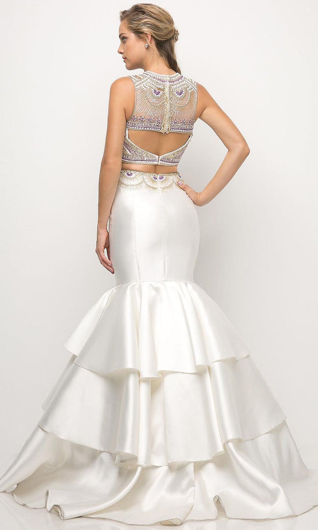 Cinderella Divine - 83903 Beaded Tiered Mermaid Gown In White & Ivory