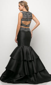 Cinderella Divine - 83903 Beaded Tiered Mermaid Gown In Black
