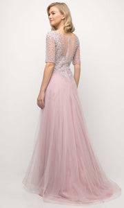 Cinderella Divine - U101 Bateau Neck Pearl Long Dress In Pink and Purple