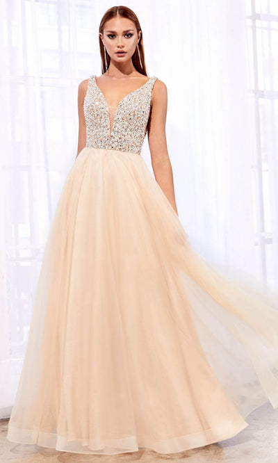Cinderella Divine - U103 Rhinestone V Neck A-Line Gown In Neutral
