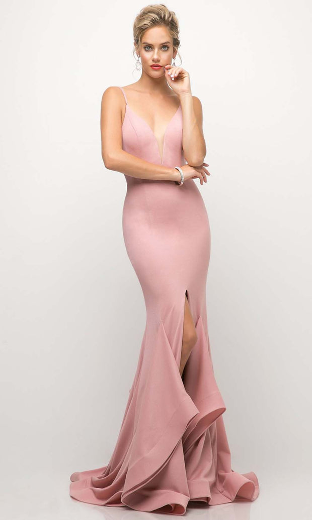 Cinderella Divine - UE006 V Neck Ruffled Long Gown In Pink