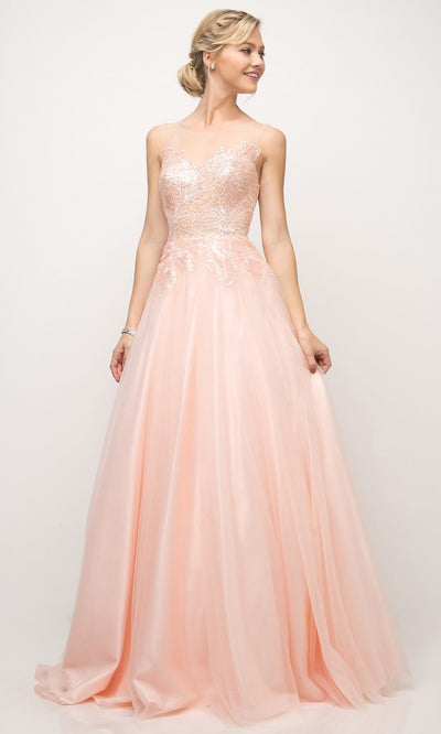 Cinderella Divine - UE009 Illusion Neck A-Line Gown In Pink and White
