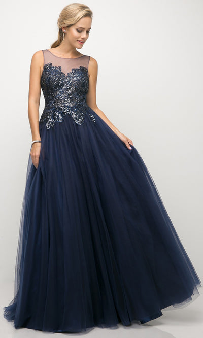 Cinderella Divine - UE009 Illusion Neck A-Line Gown In Blue