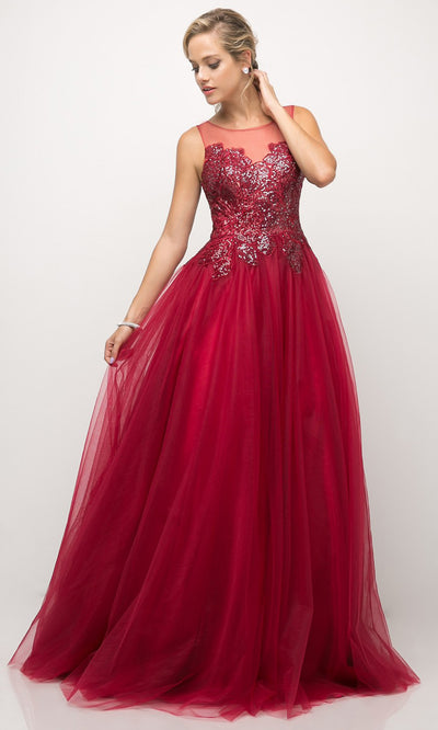 Cinderella Divine - UE009 Illusion Neck A-Line Gown In Red