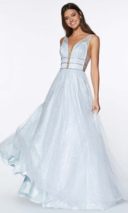 Cinderella Divine - UE011 Deep V Neck A-Line Dress In Blue and White