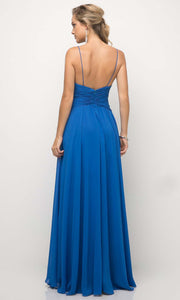 Cinderella Divine - UF295 V Neck Ruched Soft Dress In Blue