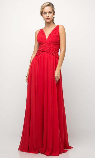 Cinderella Divine - UF295 V Neck Ruched Soft Dress In Red and Pink