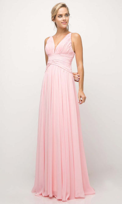 Cinderella Divine - UF295 V Neck Ruched Soft Dress In Pink and White