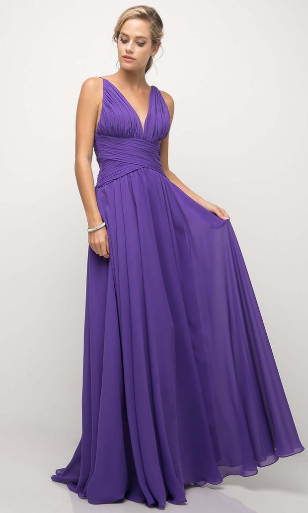 Cinderella Divine - UF295 V Neck Ruched Soft Dress In Purple