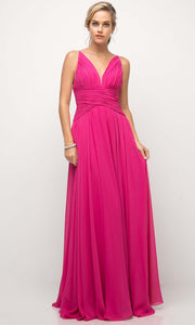 Cinderella Divine - UF295 V Neck Ruched Soft Dress In Pink