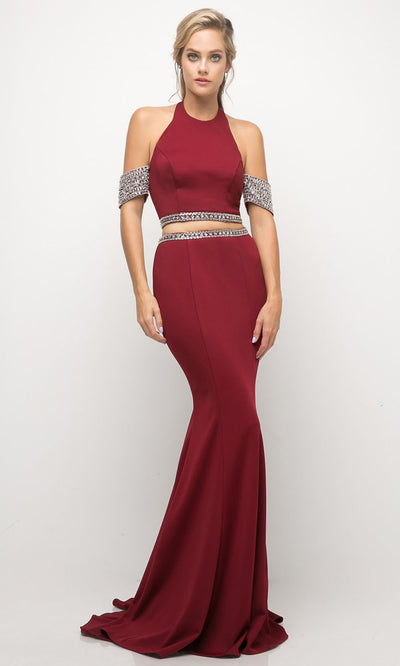 Cinderella Divine - UH551 Halter Jewel Two Piece Dress In Red and Black