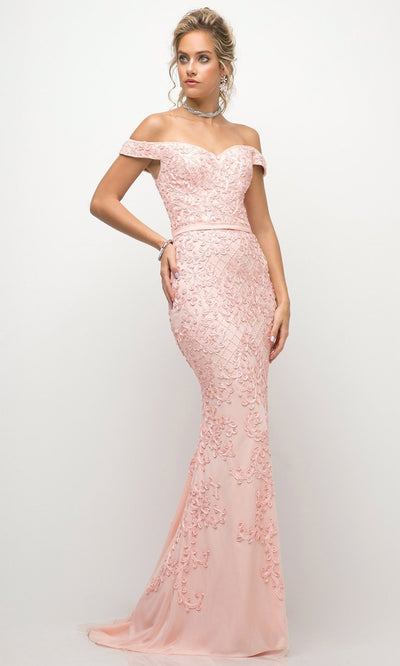 Cinderella Divine - UK012 Off-Shoulder Sweetheart Dress In Pink and White