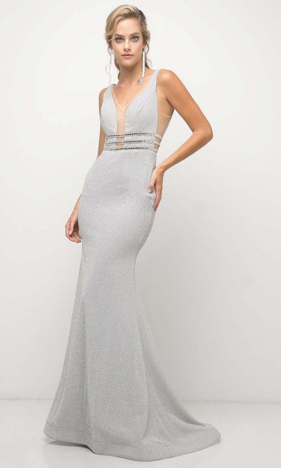 Cinderella Divine - UK022 V Neck Glittered Long Gown In White
