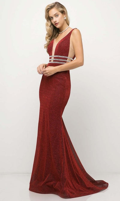 Cinderella Divine - UK022 V Neck Glittered Long Gown In Red and Brown