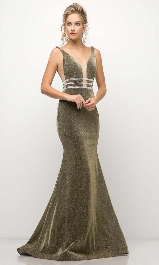 Cinderella Divine - UK022 V Neck Glittered Long Gown In Gray and Brown
