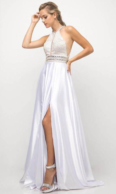 Cinderella Divine - UM076 Halter Neck A-Line Dress In White