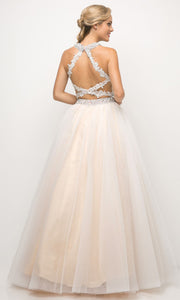 Cinderella Divine - UM078 Halter Dreamy A-Line Gown In Neutral and White