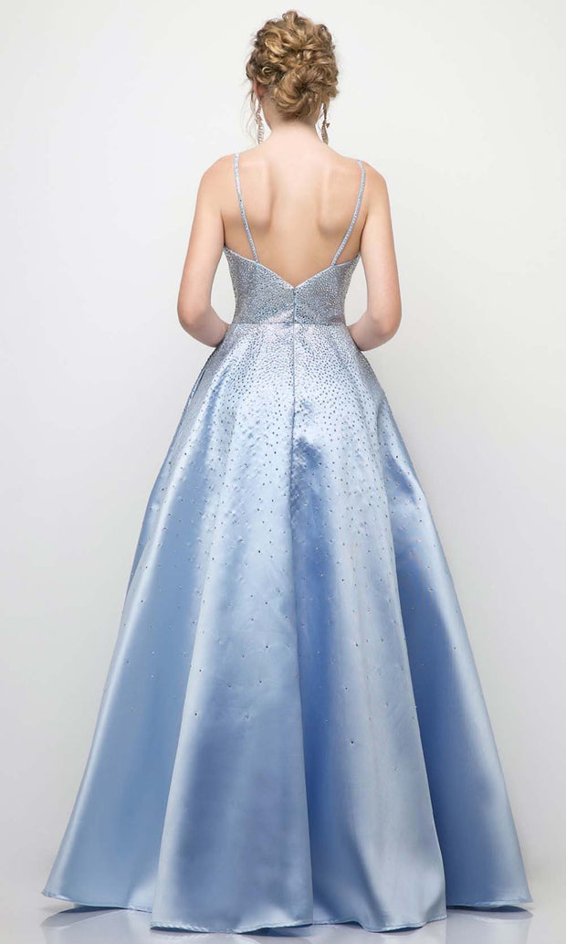 Cinderella Divine - UR135 Beaded A-Line Gown In Blue