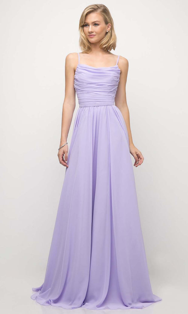 Cinderella Divine - UR136 Cowl Neck A-Line Dress In Purple