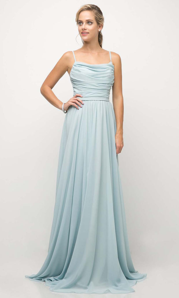 Cinderella Divine - UR136 Cowl Neck A-Line Dress In Blue