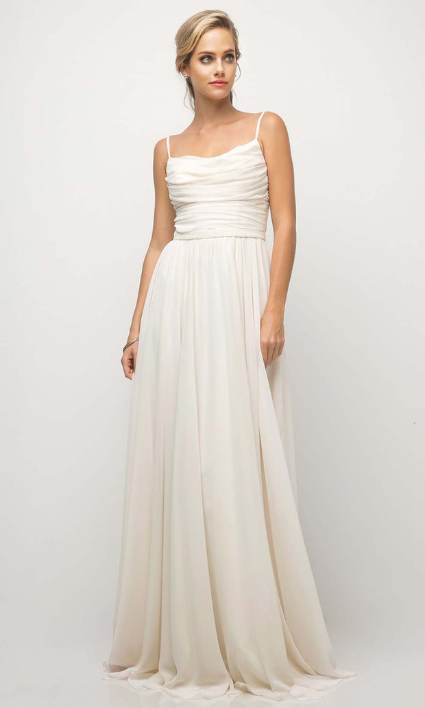 Cinderella Divine - UR136 Cowl Neck A-Line Dress In White and Neutral