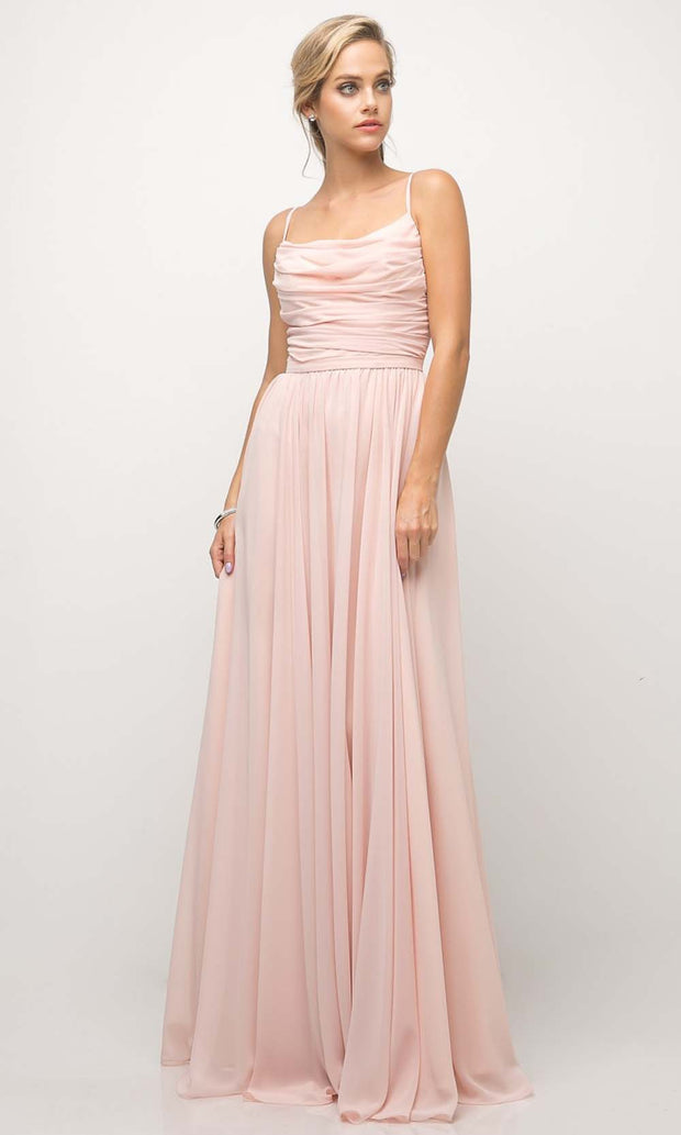 Cinderella Divine - UR136 Cowl Neck A-Line Dress In Pink and White