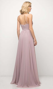 Cinderella Divine - UR136 Cowl Neck A-Line Dress In Purple and Gray