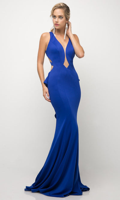 Cinderella Divine - UR137 Deep V Neck Fitted Long Dress In Blue