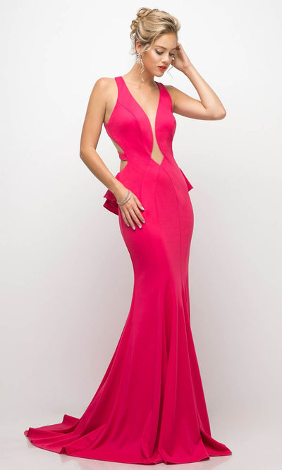 Cinderella Divine - UR137 Deep V Neck Fitted Long Dress In Pink
