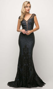 Cinderella Divine - UR138 V Neck Glittered Trumpet Gown In Blue and Black