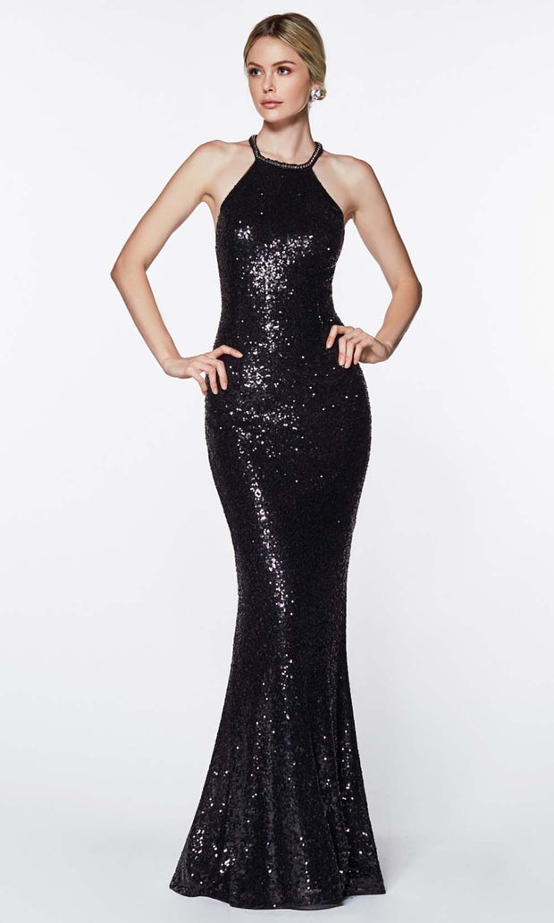 Cinderella Divine - UR139 Halter Jewel Sequined Dress In Black