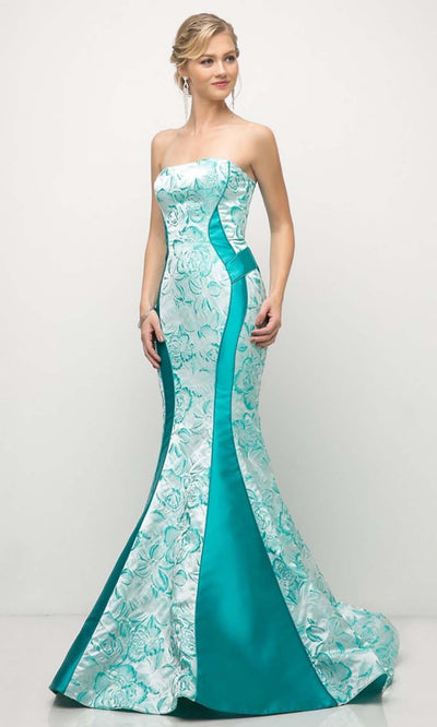 Cinderella Divine - US001 Strapless Floral Mermaid Gown In Green and Blue