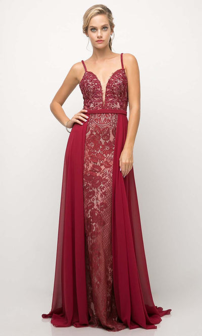Cinderella Divine - UT254 Laced Long Dress With Overskirt In Red