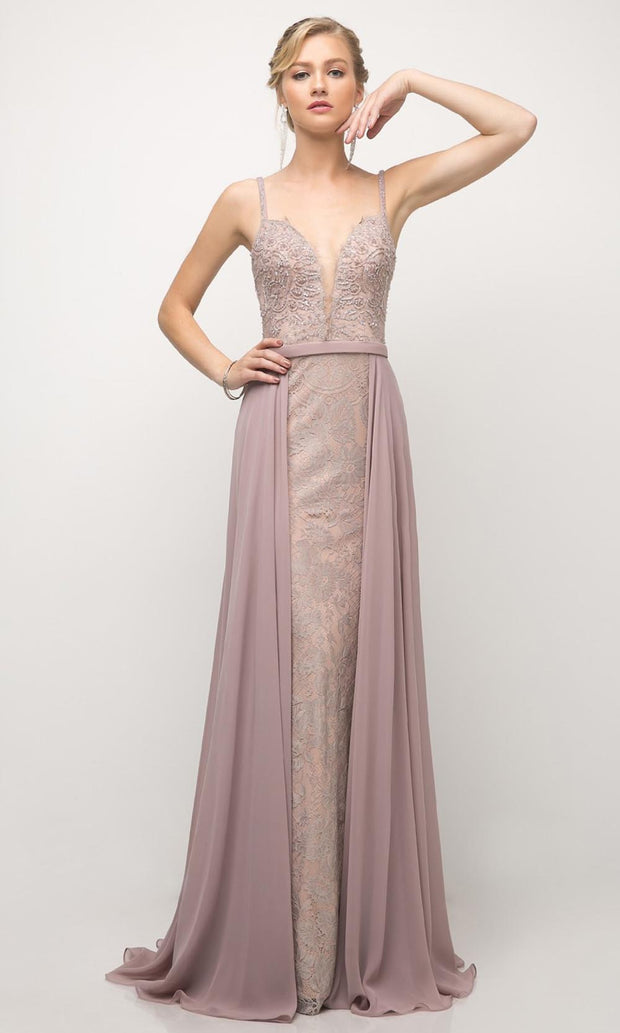 Cinderella Divine - UT254 Laced Long Dress With Overskirt In Purple and Gray