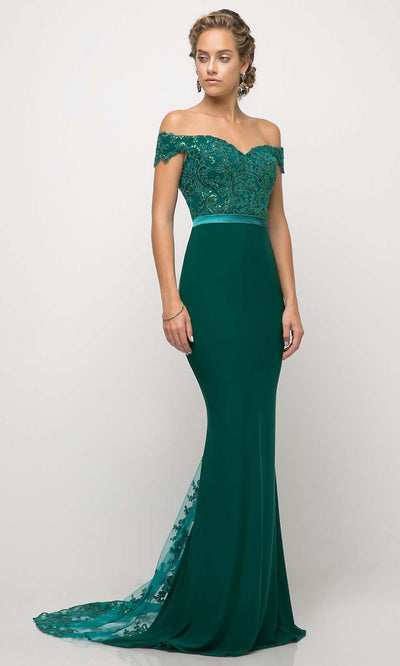 Cinderella Divine - UV001 Embellished Trumpet Gown In Green