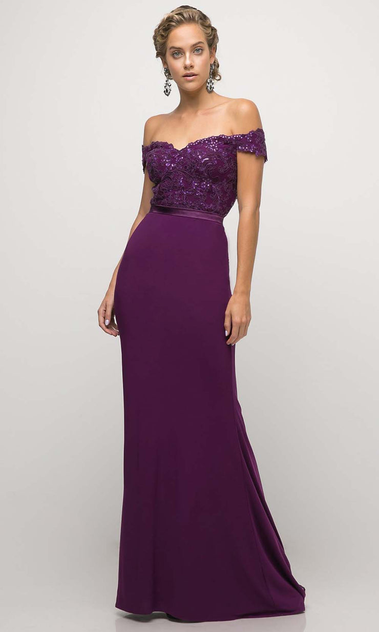 Cinderella Divine - UV001 Embellished Trumpet Gown In Purple and Black