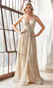 Cinderella Divine UV006 long champagne flowy metallic dress