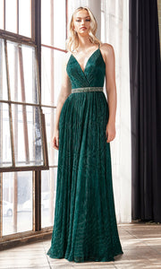 Cinderella Divine UV006 long emerald green flowy metallic dress