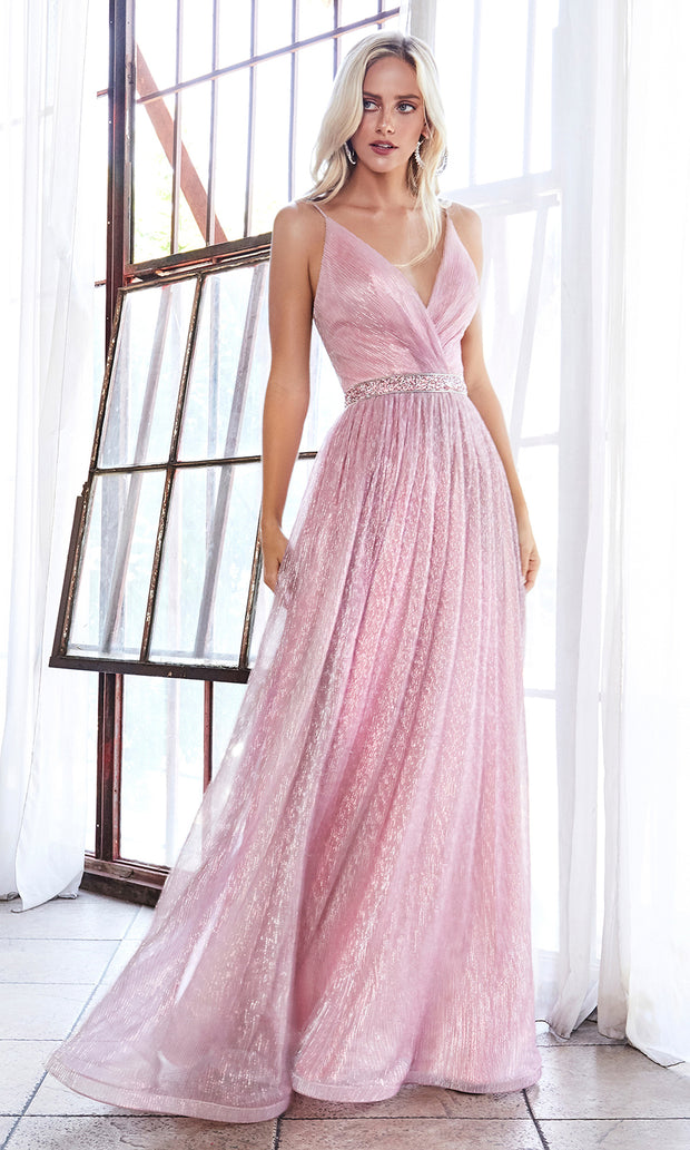 Cinderella Divine UV006 long blush pink flowy metallic dress