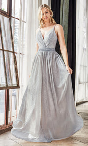 Cinderella Divine UV006 long silver grey flowy metallic dress